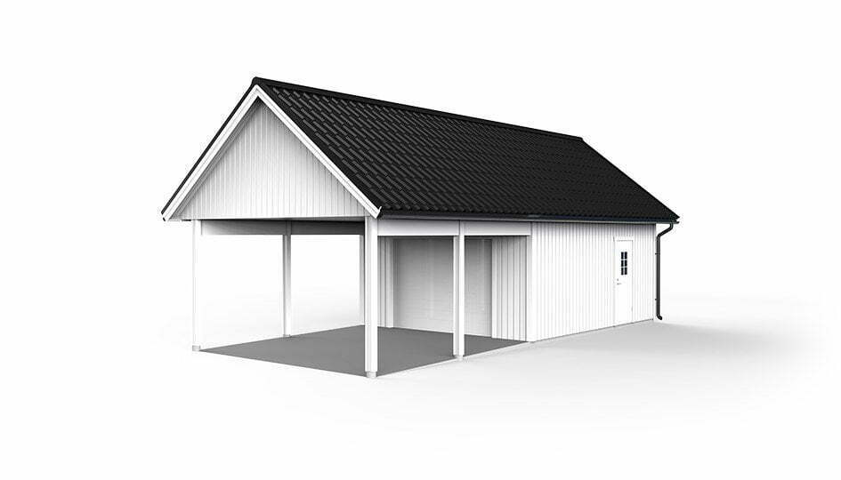 Garage med carport 4,8 x 10,8m