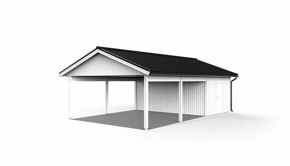 Garage med carport 6,0 x 9,6m