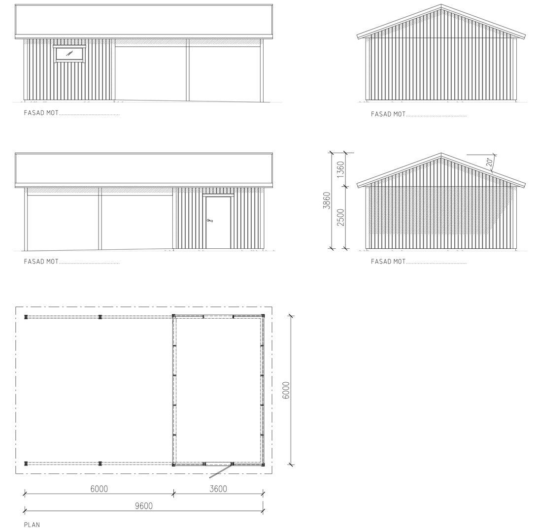 Garage med carport 6,0 x 9,6 m | Lövångers Bygg AB : ritning garage : Inredning
