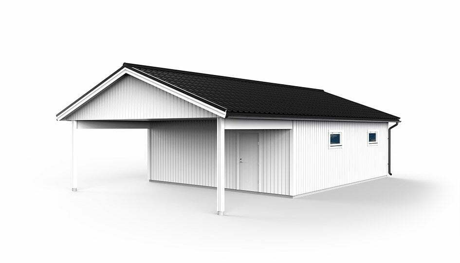 Garage med carport 7,2 x 12,0m
