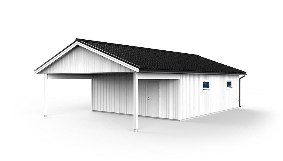 Garage med carport 7,2 x 12,0m