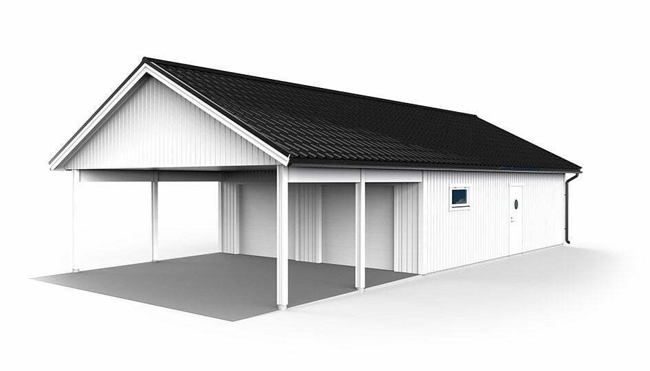 Garage med carport 7,2 x 14,4m