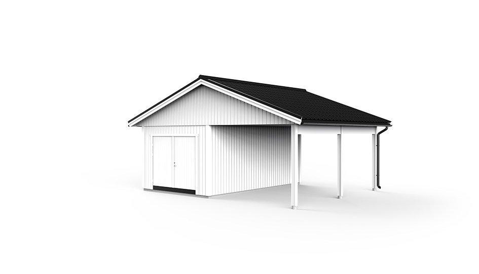 Garage med carport 7,2 x 6,0m
