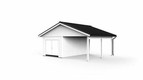 garage med carport f f rdig ritning l v ngers bygg ab. Black Bedroom Furniture Sets. Home Design Ideas