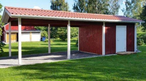 Garage med carport 3,6 x 9,6 m